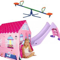 Dečiji komplet za dvorište ( Princess set 3 ) tobogan + šator kućica + metalna klackalica