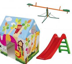 Dečiji komplet za dvorište ( SET 4 G) Šator + Tobogan + Klackalica