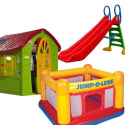Dečiji komplet za dvorište ( SET 6 ) Kućica + Zamak+ Tobogan