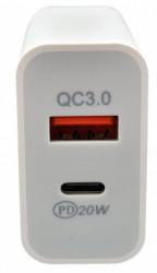 Gembird NPA-AC39 QC3.0 brzi punjac + type C,20W 3.6-6.5V/3A, 6.5V-9V/2A, 9V-12V/1.5A (735)