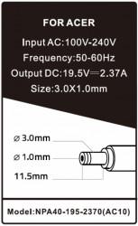 Gembird punjac za laptop 40W-19.5V-2.37A, 3.0x1.1mm black (655 alt=AC08) NPA40-195-2370 (AC10) **