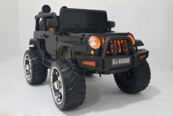 Jeep 2 sa kožnim sedištem i mekim gumama 4x4 pogon + mod za ljuljanje - Crni