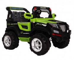 Jeep Police na akumulator sa kožnim sedištima - Zeleni