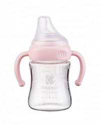 KikkaBoo flašica staklena sa ručicama 180ml pink ( KKB20090 )
