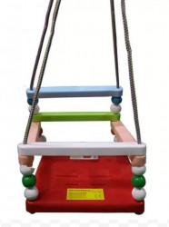 Ljuljaška za decu LAKI - Šarena sa crvenom pločom