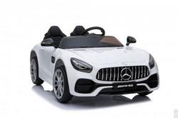 Mercedes GT AMG Licencirani auto na akumulator sa kožnim sedištem i mekim gumama - Beli