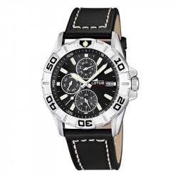 Muški Lotus Multifuncion Crni Sportski ručni sat sa minutnom koronom i crnim kožnim kaišem