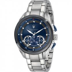 Muški Maserati Traguardo Chronograph Plavi Srebrni Sportski Ručni Sat Sa Srebrnim Metalnim Kaišem