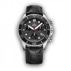 Muški Swiss Military Chrono Quartz Chronograph Crni Srebrni Sportski Ručni Sat Sa Crnim Kožnim Kaišem