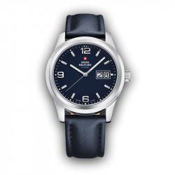 Muški Swiss Military Chrono Quartz Chronograph Plavi Srebrni Sportsko Elegantni Ručni Sat Sa Plavim Kožnim Kaišem