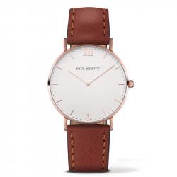 Paul Hewitt Sailor Line Beli Roze Zlatni ručni sat sa braon kožnim kaišem