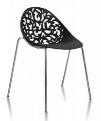 Plastična stolica FLOWER - Crna