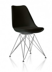 Plastična trpezarijska stolica CHARLIE M - Crna