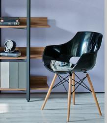 Plastična trpezarijska stolica D-03 - Crna