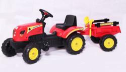 Traktor 01 na pedale sa prikolicom + lopatica i grabulja - Crveni
