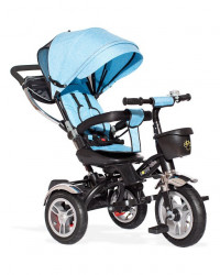 Tricikl Guralica Playtime AM 418 LUX lanena tenda - rotirajuće sedište - Plavi