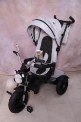 Tricikl za decu T08 sa rotirajućim sedištem i gumama na pumpanje - Sivi