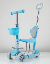 Trotinet Soft Model 653-1 za decu sa sedištem i svetlećim točkovima - Plavi