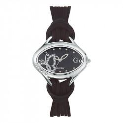 Ženski Girl Only Enlace moi Crni Modni Ovalni ručni sat sa crnim kožnim kaišem