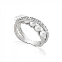 Ženski Majorica Exquisite Beli Biserni Srebrni Prsten Sa Kristalima 4 mm 57 mm