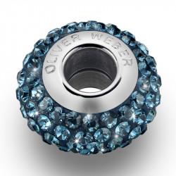 Ženski Oliver Weber Shine thin Steel Montana privezak sa swarovski plavim kristalom za narukvicu