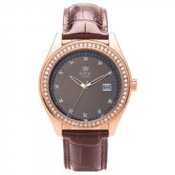 Ženski Royal London Spotlight Roze Zlatni Modni ručni sat sa braon kožnim kaišem
