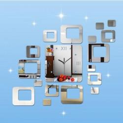 Akrilni Zidni Sat samolepljivi - Srebrni ( T4086S )