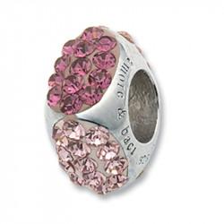 Amore Baci Cubic Roze srebrni privezak sa swarovski kristalom za narukvicu