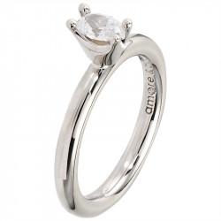 Amore Baci srebrni prsten sa jednim belim swarovski kristalom 57 mm