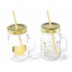 Art from Italy f80.14.74 čaša sa slamkom i dekoracijom u zlatnoj boji