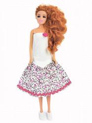 Bela haljina sa cvetnim karnerom ( H-02 ) ciklama