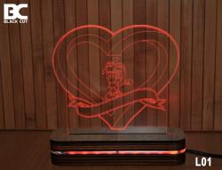Black Cut 3D Lampa sa 9 različitih boja i daljinskim upravljačem - Forever in Love ( L01 )