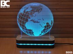 Black Cut 3D Lampa sa 9 različitih boja i daljinskim upravljačem - Globus ( B005 )