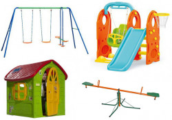 Dečiji komplet za dvorište ( Veliki SET 1C ) Ljuljaška + Kućica + set 4u1+ Klackalica