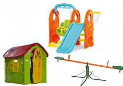 Dečiji komplet za dvorište ( Veliki SET 2G ) Kućica + Set 4u1 + Klackalica