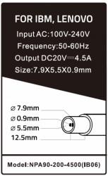 Gembird punjac za laptop 90W-20V-4.5A, 7.9x5.5mm yellow PIN (655)NPA90-200-4500 (IB06) **