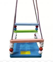 Ljuljaška za decu LAKI - Šarena sa plavom pločom