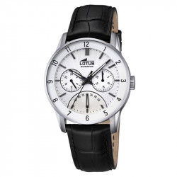 Muški Lotus Multifuncion Beli Elegantni ručni sat sa crnim kožnim kaišem