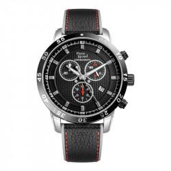 Muški Pierre Ricaud Quartz Chronograph Crni Srebrni Sportski Ručni Sat Sa Crnim Kožnim Kaišem