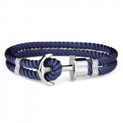Paul Hewitt Phreps Srebrno sidro Plava tekstilna narukvica XL