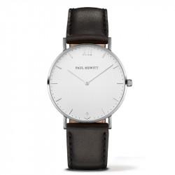 Paul Hewitt Sailor Line Beli Srebrni ručni sat sa crnim kožnim kaišem