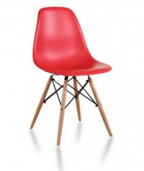 Plastična trpezarijska stolica CHARLIE MAT - Crvena