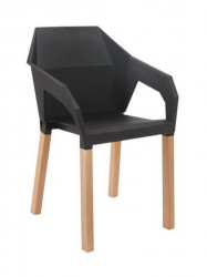 Plastična trpezarijska stolica ORIGAMI - Crna