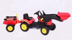 Traktor 05 na pedale sa prikolicom i kašikom - Crveni