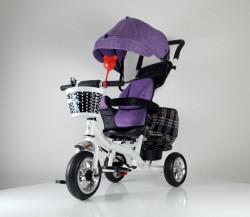 Tricikl Guralica Playtime 416 Star sa rotirajućim sedištem i tendom od lanenog platna - Ljubičasti