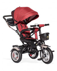 Tricikl Guralica Playtime AM 418 LUX lanena tenda - rotirajuće sedište - Crveni