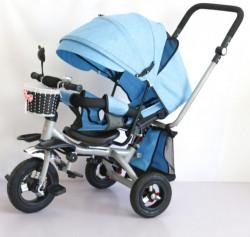 Tricikl Playtime 413-1 RELAX sa rotirajućim sedištem i lanenim platnom - Plavi