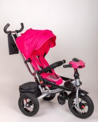 Tricikl za decu model T04 Sa rotirajućim sedištem i podesivim naslononom - gume na pumpanje - Pink