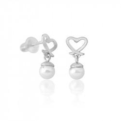 Ženske Majorica Motiv Pearl Drop Bele Srebrne Minđuše 4 mm