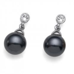 Ženske Oliver Weber Lucent Dark Grey Crystal mindjuše sa crnim swarowski perlama